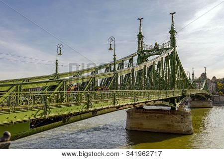 Budapest, Hungary - November 15, 2019: The Liberty Bridge In Budapest In Hungary, It Connects Buda A
