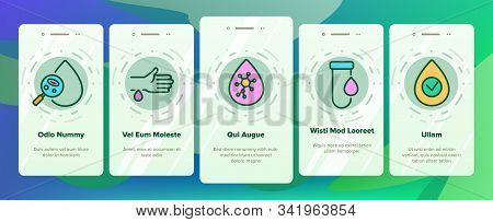 Hematology Onboarding Mobile App Page Screen Vector. Blood Erythrocytes And Analysis, Diabetes And Infection Diagnostic Hematology Illustrations poster