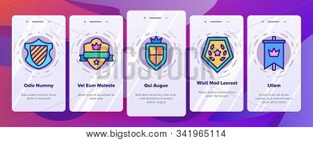 Blazon Shield Shapes Onboarding Mobile App Page Screen Vector. Medieval And Antique Blazon With Ribb