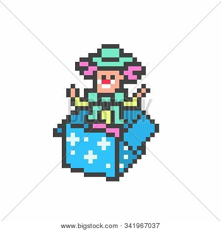 Jack-in-the-box, Prank Toy Clown In A Blue Box,  8 Bit Pixel Art Character Isolated On White Backgro