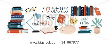 Books And Reading Set. Textbooks For Academic Studies, Cute Cats, Houseplant, Glasses. Bundle Of Dec