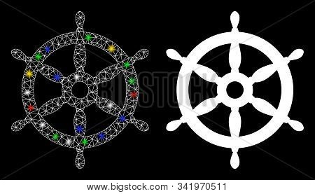 Glowing Mesh Ship Wheel Icon With Lightspot Effect. Abstract Illuminated Model Of Ship Wheel. Shiny