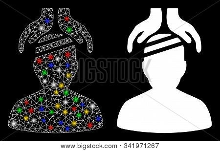 Bright Mesh Psychiatry Patient Cure Hands Icon With Lightspot Effect. Abstract Illuminated Model Of