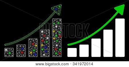 Bright Mesh Growing Bar Chart Trend Icon With Glitter Effect. Abstract Illuminated Model Of Growing