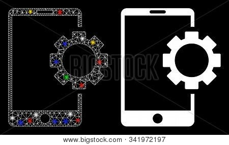 Flare Mesh Phone Setup Gear Icon With Glare Effect. Abstract Illuminated Model Of Phone Setup Gear.