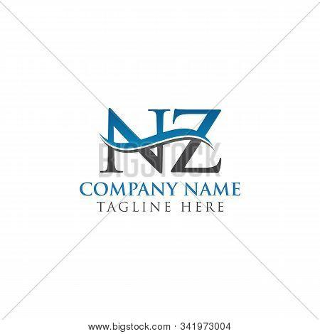 Swoosh Letter Nz Logo Design Vector Template. Water Wave Nz Logo Vector.