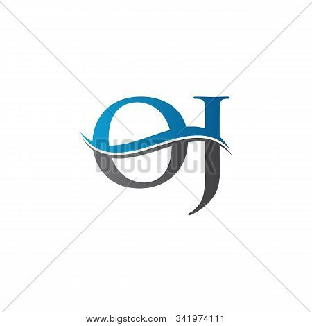 Swoosh Letter Oj Logo Design Vector Template. Water Wave Oj Logo Vector.