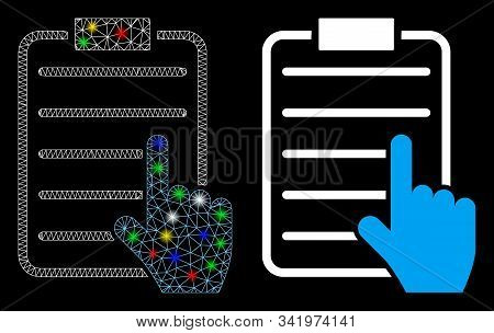 Glowing Mesh Choose Page Items Icon With Sparkle Effect. Abstract Illuminated Model Of Choose Page I