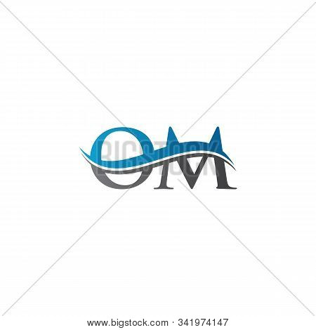 Swoosh Letter Om Logo Design Vector Template. Water Wave Om Logo Vector.