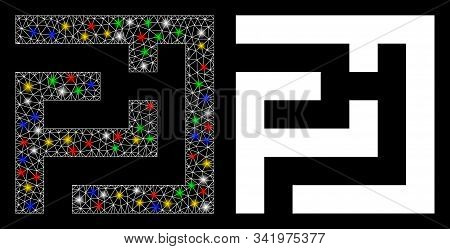 Flare Mesh Labyrinth Icon With Glitter Effect. Abstract Illuminated Model Of Labyrinth. Shiny Wire F