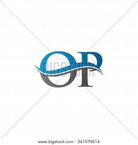 Swoosh Letter Op Logo Design Vector Template. Water Wave Op Logo Vector.