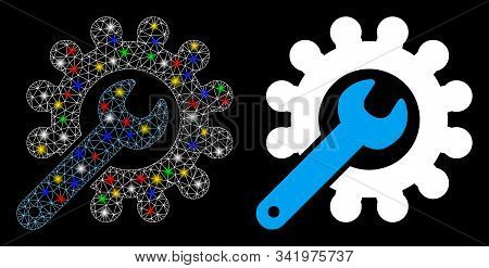 Glossy Mesh Customization Tools Icon With Glitter Effect. Abstract Illuminated Model Of Customizatio