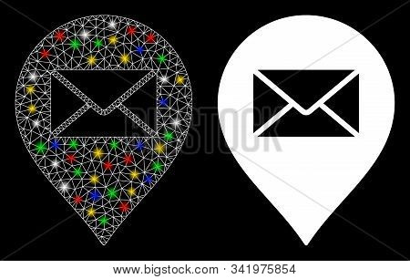 Flare Mesh Mail Letter Marker Icon With Glitter Effect. Abstract Illuminated Model Of Mail Letter Ma