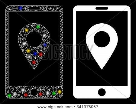 Glossy Mesh Mobile Gps Icon With Lightspot Effect. Abstract Illuminated Model Of Mobile Gps. Shiny W