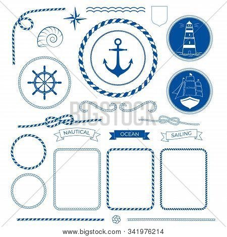 Rope Frames, Knots, Corners And Ribbons. Nautical Sea Collection, Marine Rope, Boat, Lighthouse Logo