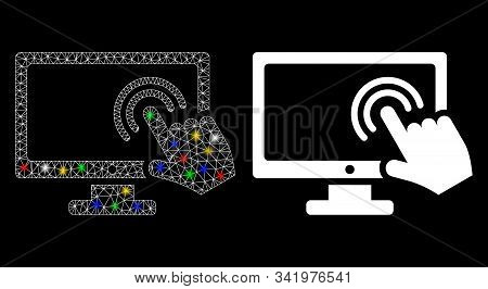 Glowing Mesh Screen Double Tap Icon With Glitter Effect. Abstract Illuminated Model Of Screen Double