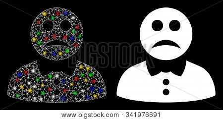 Glowing Mesh Sad Boy Icon With Glitter Effect. Abstract Illuminated Model Of Sad Boy. Shiny Wire Car