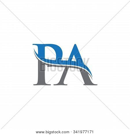 Swoosh Letter Pa Logo Design Vector Template. Water Wave Pa Logo Vector.