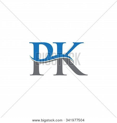 Swoosh Letter Pk Logo Design Vector Template. Water Wave Pk Logo Vector.
