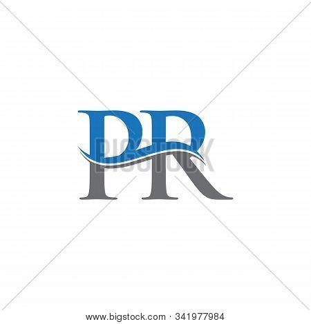 Swoosh Letter Pr Logo Design Vector Template. Water Wave Pr Logo Vector.