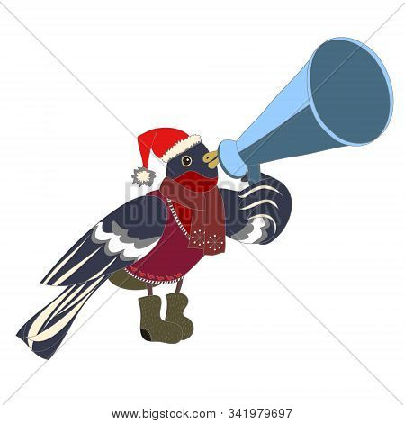 Bullfinch, Speaking Through A Megaphone Vector Illustration Depicting Bullfinch With Mouthpiece