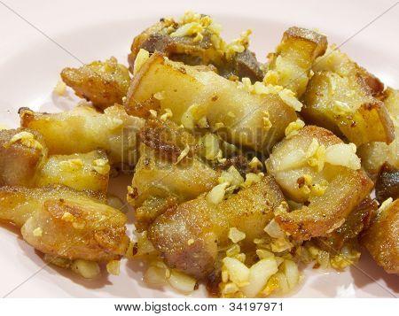 Fried Pork Belly With Garlic And Salt