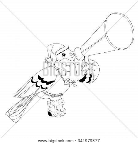 Contour Image Bullfinch Vector Illustration Depicting Bullfinch With Mouthpiece
