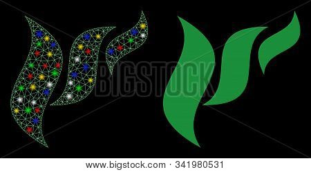 Bright Mesh Flora Abstraction Icon With Glare Effect. Abstract Illuminated Model Of Flora Abstractio