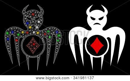 Flare Mesh Gambling Spectre Devil Icon With Glitter Effect. Abstract Illuminated Model Of Gambling S