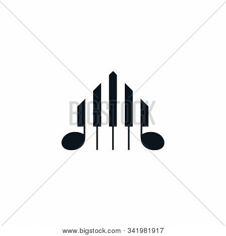 Piano Keyboard Symbol With House Shape. Abstract Musical Instrument Icon Design.