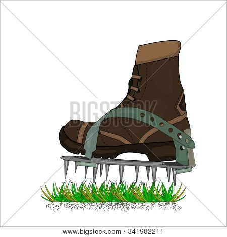 Aerator Shoes With Metal Spikes Isolated On White Background. Lawn Aerator Shoes. Lawn Spikes Shoes.