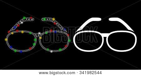 Glossy Mesh Spectacles Icon With Glitter Effect. Abstract Illuminated Model Of Spectacles. Shiny Wir
