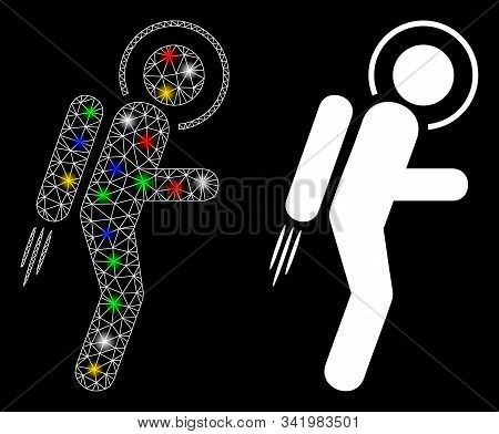 Glossy Mesh Spaceman Jet Suit Icon With Glitter Effect. Abstract Illuminated Model Of Spaceman Jet S