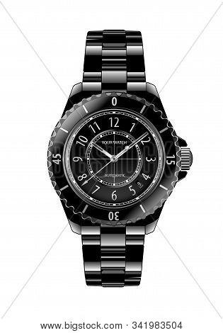Realistic Black Chronograph Wristwatch Metallic White Number Design Luxury On White Background Vecto