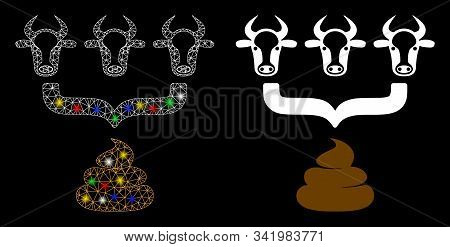 Glossy Mesh Cow Manure Aggregator Funnel Icon With Glitter Effect. Abstract Illuminated Model Of Cow