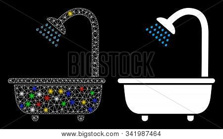 Glowing Mesh Bath Shower Icon With Glare Effect. Abstract Illuminated Model Of Bath Shower. Shiny Wi