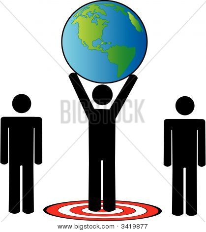 Stick Team Standing On Target Arms Up Earth.