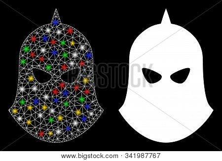 Glowing Mesh Knight Helmet Icon With Glitter Effect. Abstract Illuminated Model Of Knight Helmet. Sh