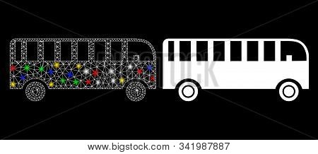 Glossy Mesh Bus Icon With Lightspot Effect. Abstract Illuminated Model Of Bus. Shiny Wire Carcass Po