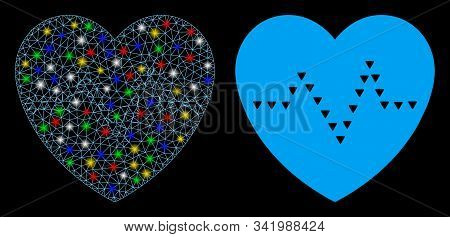 Glowing Mesh Dotted Heart Pulse Icon With Lightspot Effect. Abstract Illuminated Model Of Dotted Hea