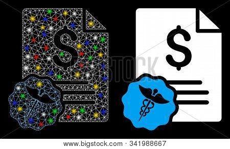 Glossy Mesh Medical Invoice Icon With Glare Effect. Abstract Illuminated Model Of Medical Invoice. S
