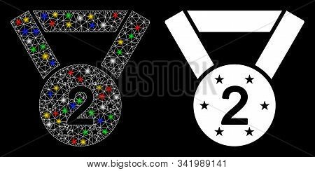 Glowing Mesh Medal Second Icon With Lightspot Effect. Abstract Illuminated Model Of Medal Second. Sh