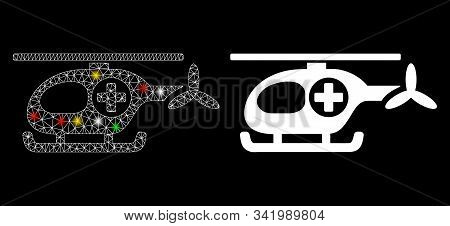 Glossy Mesh Ambulance Helicopter Icon With Sparkle Effect. Abstract Illuminated Model Of Ambulance H