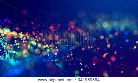 Cloud Of Multicolored Particles Fly In Air Slowly Or Float In Liquid Like Sparkles On Dark Blue Back
