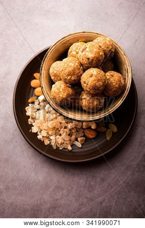sweet Dink laddu also known as Dinkache ladoo or gond ke laddoo made using edible gum with dry fruit