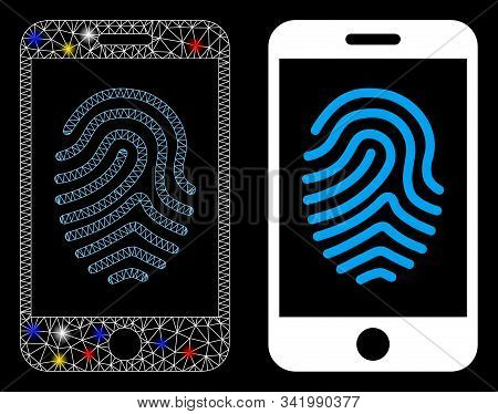 Glossy Mesh Mobile Fingerprint Authorization Icon With Glow Effect. Abstract Illuminated Model Of Mo