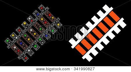 Glowing Mesh Railroad Segment Icon With Lightspot Effect. Abstract Illuminated Model Of Railroad Seg