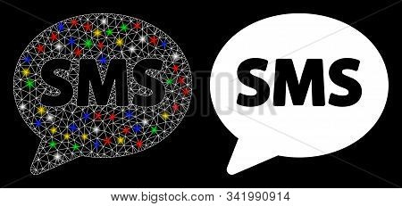 Flare Mesh Sms Balloon Icon With Glow Effect. Abstract Illuminated Model Of Sms Balloon. Shiny Wire
