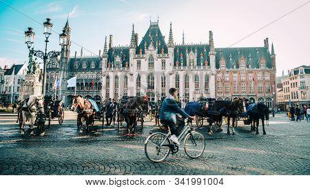 Bruges, Belgium - Oct 5, 2018. Old Buildings In Bruges, Belgium. Bruges (brugge) Is A Medieval Fairy