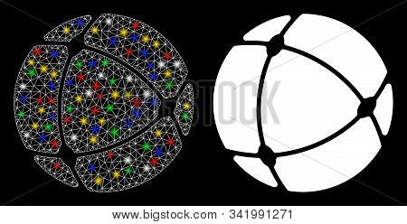 Glossy Mesh Internet Sphere Icon With Lightspot Effect. Abstract Illuminated Model Of Internet Spher